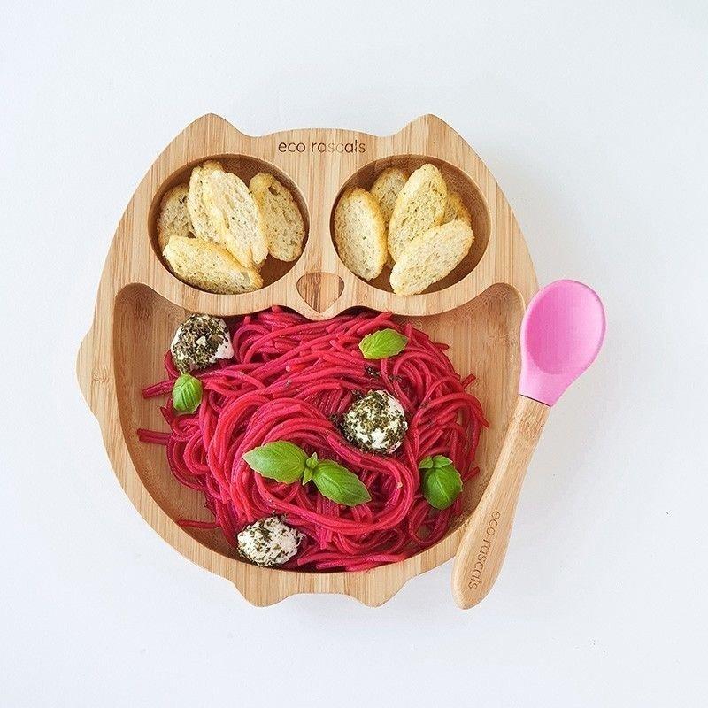 Plato bambú ECO RASCALS Búho con alimentos