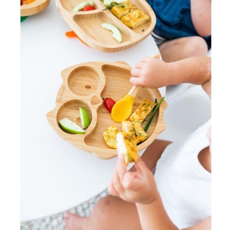 niños comiendo en Plato bambú ECO RASCALS Búho
